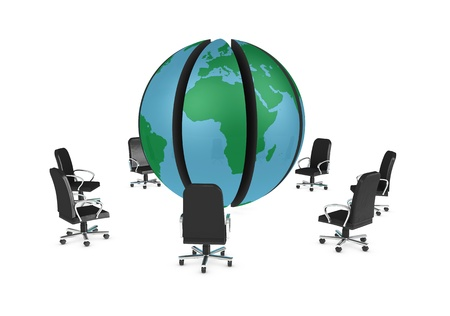 splitting: One 3d render of a globe divided into segments with armchairs all around it