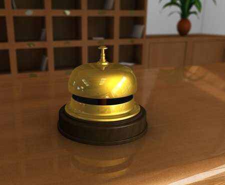 One 3d render of a hotel reception with a close up of a bell photo