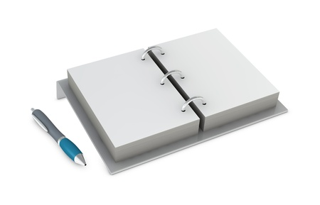 one 3d render of an agenda with pen photo