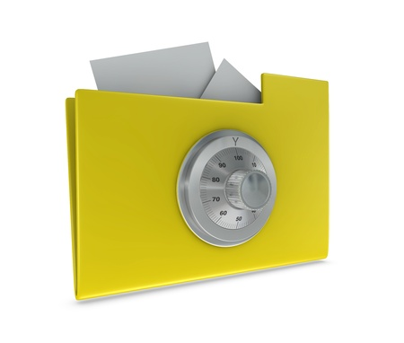 One 3d render of a computer folder locked with a combination wheel. Concept of protection of digital data Stock Photo - 9245158