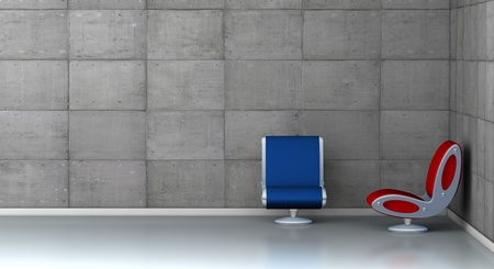 One 3d render of an empty room with two futuristic armchairs photo
