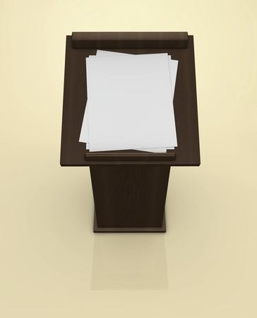 lectern: One 3d render of a top view of a lectern with empties papers