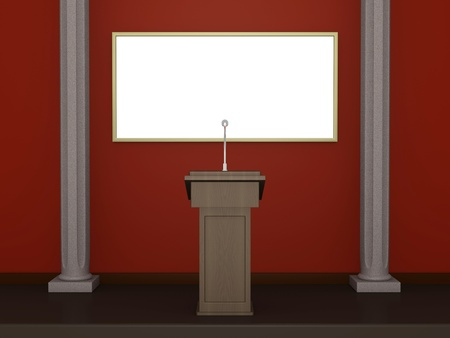 lectern: One 3d render of a stage with a lectern and white billboard Stock Photo