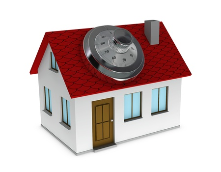 One 3d render of a house with a safe dial coder on the roof. Concept of protection and security photo