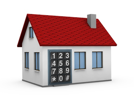 One 3d render of a house with a electronic keypad instead of the door. Concept of security and protection photo