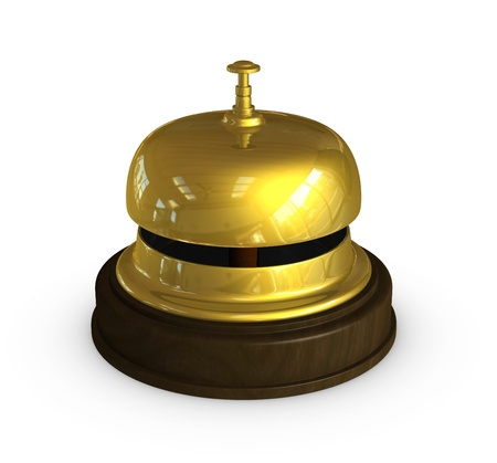 bell bronze bell: one 3d render of the golden bell used at the hotel receptions Stock Photo