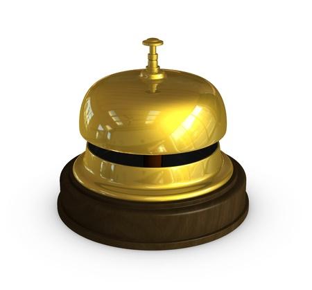 bell bronze bell: render 3d de uno de la campana de oro en las recepciones de hotel Foto de archivo