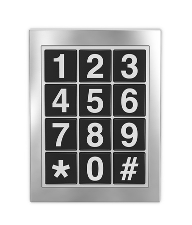 teclado numérico: Vista frontal de un teclado que se utiliza en puertas, teléfonos y cajas fuertes