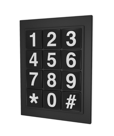 numeric: one 3d render of a keypad as that used on doors, phones and safes