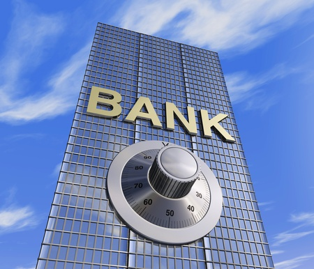 one 3d render of a bank headquarter with a safe dial coder. concept of security photo