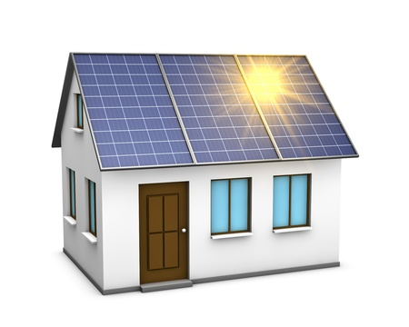 solar electric: One 3d render of a house with solar panels on the roof and the sunlight reflecting on them