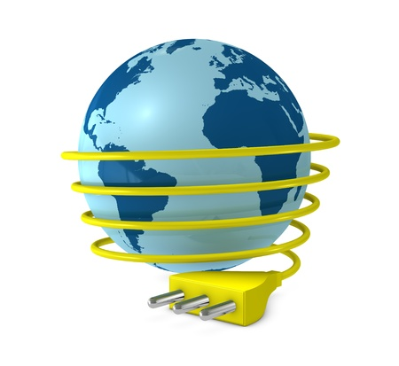 one 3d render of a globe with a electric cable around it and a plug photo