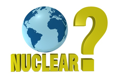 one 3d render that show the concept of a question about the nuclear energy Stock Photo - 9332915