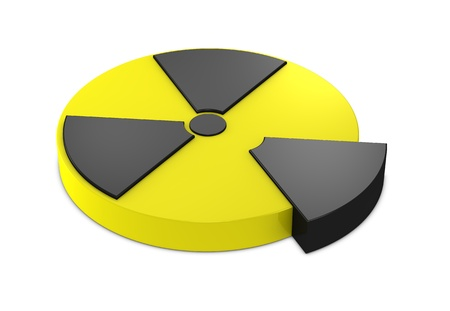 nuclear symbol icon: one 3d render of a nuclear symbol resembling a pie chart