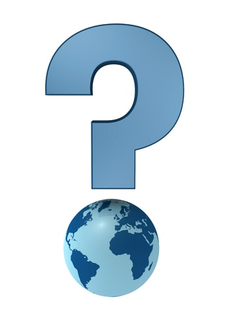 one 3d render of a question mark made with a earth globe Stock Photo - 9332911