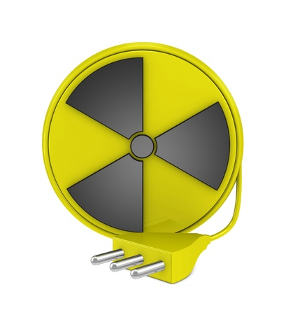 one 3d render of a cable reel made with the nuclear symbol and a plug. Concept of nuclear energy photo