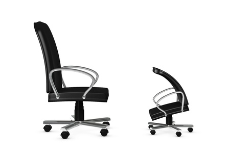 criticizes: one 3d render of two armchairs. concept of a chief who criticizes a employee Stock Photo