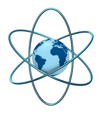 atomic center: one 3d render of the atom symbol with a globe in the middle Stock Photo