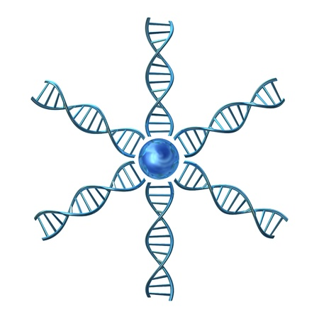 dna chain: one 3d render of dna helices starting from a core
