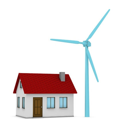pollution free: one 3d render of house and a windmill that produces green energy