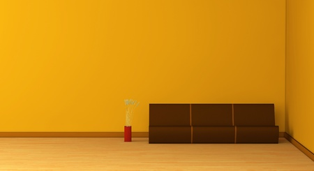 one 3d render of an empty room with a modern sofa and a vase Stock Photo - 9383331