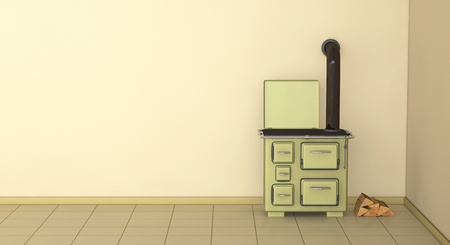one 3d render of a 50s style kitchen Stock Photo - 9383332