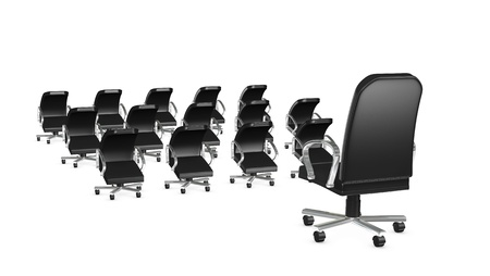 best employee: one big armchair that represents the boss and a crowd of little armchairs as employees (3d render)