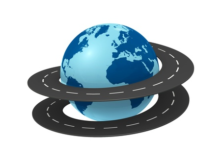drive around the world: one earth globe with a road around it (3d render)