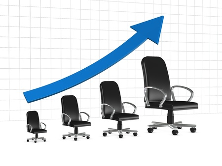 one chart with armchairs that show a business growth or the career growth (3d render) photo