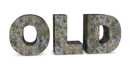 old ruin: one 3d render of the word OLD