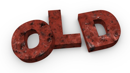 one 3d render of the word OLD photo