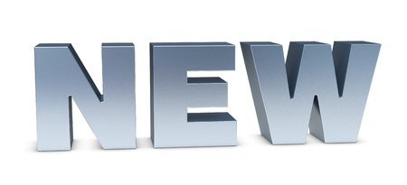 one 3d render of the word NEW photo