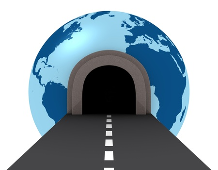 highway tunnels: one street with a  tunnel that pass across a globe (3d render) Stock Photo