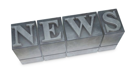 movable: the word NEWS made with old movable type (3d render) Stock Photo