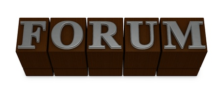 movable: the word FORUM made with old movable type (3d render)
