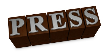 the word PRESS made with old movable type (3d render) photo