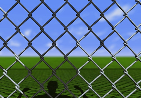 one man behind to a net who watches toward the horizon and hopes, one day,  to be free (3d render) photo