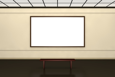 one museum room with a white canvas on the wall and a bench in front of it Stock Photo - 9447238