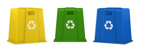 three waste containers in different colors with recycling symbol (3d render) photo
