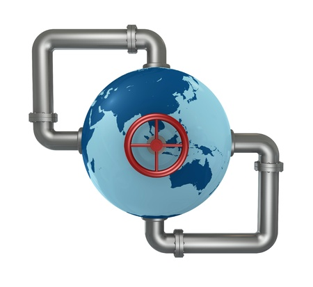 gas pipeline: globe world connected with pipes and a wheel (3d render) Stock Photo