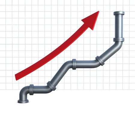 one growing  chart made with pipelines and a red arrow pointing up (3d render) photo