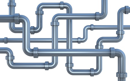 outils plomberie: plusieurs tuyaux se croisant chaque autre (render 3d)