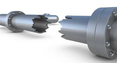 leaking: closeup of a broken pipe (3d render) Stock Photo