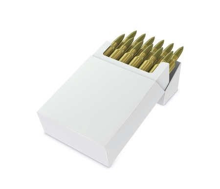 one box full of bullets instead of cigarettes, the box has blank space for personalized text or image (3d render) Stock Photo - 9553357