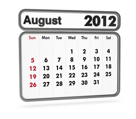 august 2012 calendar on white background (3d render) Stock Photo - 9553367