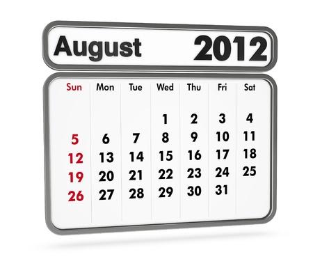 sat: august 2012 calendar on white background (3d render) Stock Photo