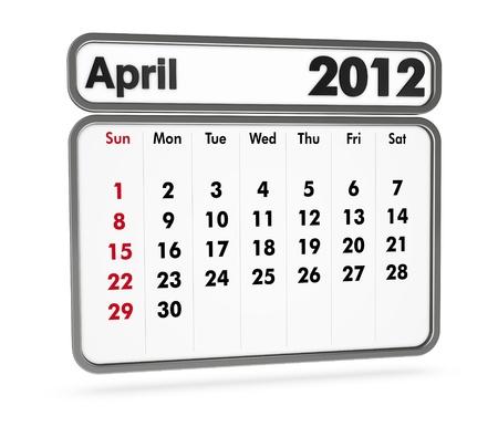 april 2012 calendar on white background (3d render) photo
