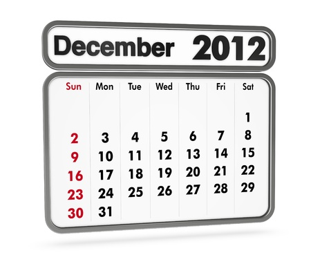 december 2012 calendar on white background (3d render) Stock Photo - 9553371