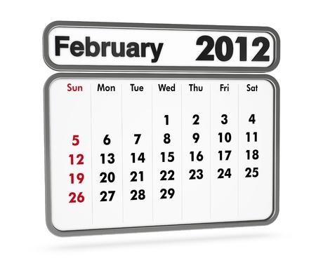 february 2012 calendar on white background (3d render) photo