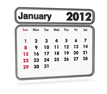 january 2012 calendar on white background (3d render) Stock Photo - 9553368